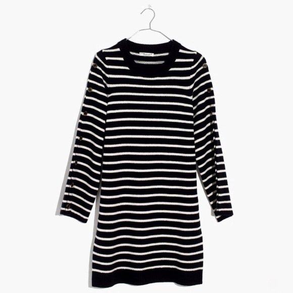 3ab5105ae9a Madewell Stripe Button Sleeve Sweater Dress